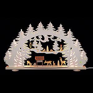 Schwibbögen Laubsägearbeiten 3D-Schwibbogen Waldlichtung - 66x40x8,5cm