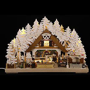 Schwibbögen Laubsägearbeiten 3D-Schwibbogen Walki-Weihnachtsbäckerei mit Raureif - 43x30 cm
