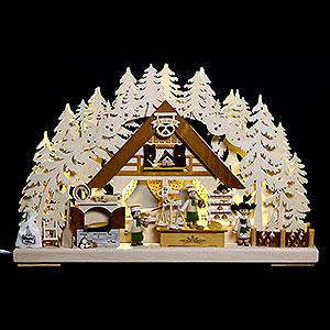 Schwibbögen Laubsägearbeiten 3D Schwibbogen - Weihnachtsbackstube - 44x29x7cm