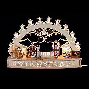 Schwibbögen Laubsägearbeiten 3D-Schwibbogen Weihnachtsmarkt - 68x46x17cm