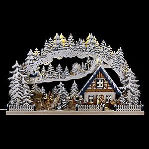 Schwibbögen Laubsägearbeiten 3D Schwibbogen Wintereinbruch - 72x43cm