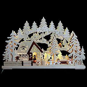 Schwibbögen Laubsägearbeiten 3D Schwibbogen - Winterlandschaft - 62x39x8cm