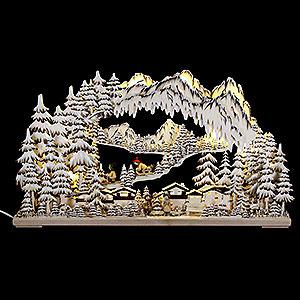 Schwibbögen Laubsägearbeiten 3D-Schwibbogen Wintersport braun mit Raureif - 72x43 cm