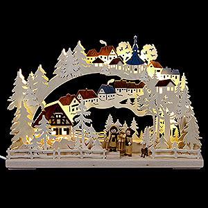 Schwibbögen Laubsägearbeiten 3D Schwibbogen Winterwanderung - 43x30cm