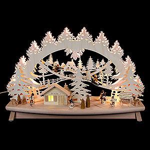 """Schwibbögen Laubsägearbeiten 3D Schwibbogen """"Kinder im Schnee"""" mit beweglichen Figuren - 68x43x16cm"""