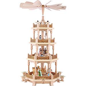 Christmas-Pyramids 4-tier Pyramids 4-Tier Pyramid - Nativity Scene Painted - 54 cm / 21 inch