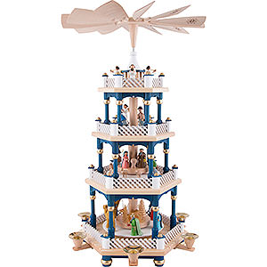 Weihnachtspyramiden 4-stöckige Pyramiden 4-stöckige Pyramide Christi Geburt blau - 54 cm
