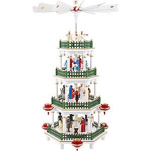 Weihnachtspyramiden 4-stöckige Pyramiden 4-stöckige Pyramide Christi Geburt weiss - 47 cm