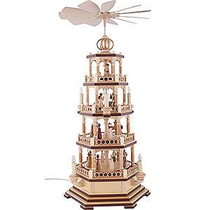 Weihnachtspyramiden 4-stöckige Pyramiden 4-stöckige Pyramide - Heilige Geschichte - 70 cm - 120 V Elektromotor (US-Norm)