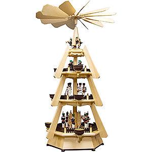 Weihnachtspyramiden 4-stöckige Pyramiden 4-stöckige Pyramide mit Bergleuten - 73,5cm