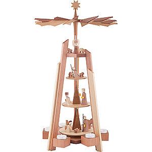 Weihnachtspyramiden 4-stöckige Pyramiden 4-stöckige Teelichtpyramide mit Krippenfiguren, rosenholz - 60cm