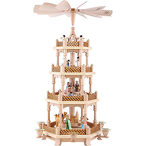 Christmas-Pyramids 4-tier Pyramids 4- tier Pyramid Nativity Scene painted - 21 inch - 54 cm