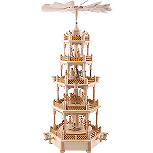Christmas-Pyramids 5-tier Pyramids 5-Tier Pyramid - Nativity Scene Natural Wood - 70 cm / 28 inch
