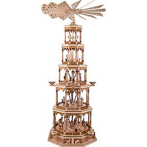 Weihnachtspyramiden 5-stöckige Pyramiden 5-stöckige Pyramide Christi Geburt - natur - 123 cm