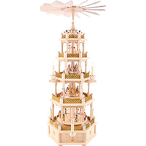 Christmas-Pyramids 5-tier Pyramids 5- tier Pyramid Nativity Scene natural wood - 30 inch - 75 cm
