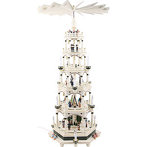 Weihnachtspyramiden 6-stöckige Pyramiden 6-stöckige Weihnachtspyramide weiß-grün, elektrisch - 106 cm - 220V Motor