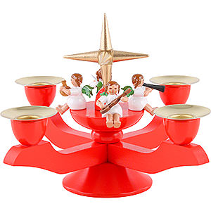 World of Light Candle Holder Angels Advent Candle Holder - Red - 12 cm / 5 inch