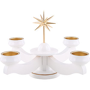 World of Light Advent Candlestick Advent candle holder with star, for thick candles or tea candles, white - 19cm / 7.5inch