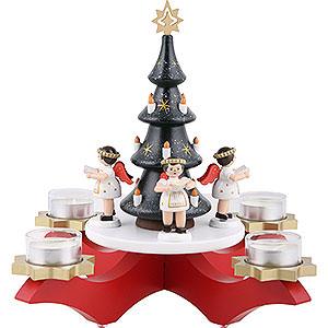 Lichterwelt Kerzenhalter Engel Adventsleuchter Rot mit Baum und 4 Engeln farbig, mit 4 Teelichtern - 27 cm
