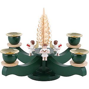 Lichterwelt Kerzenhalter Engel Adventsleuchter grün vier sitzende Engel mit Spanbaum - 22x19cm