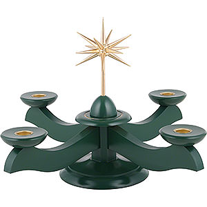 Lichterwelt Kerzenhalter Sonstige Adventsleuchter mit Weihnachtsstern und Adventsgrün - 29x29x26cm