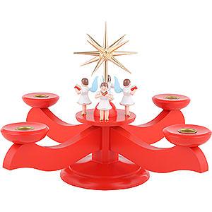 Lichterwelt Kerzenhalter Engel Adventsleuchter rot - 29x29x26cm