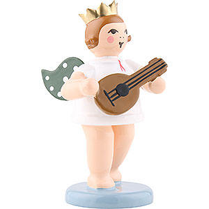 Angels Orchestra with crown (Ellmann) Angel with Crown and Mandoline - 6,5 cm / 2.5 inch