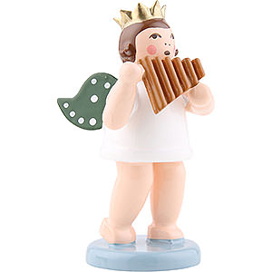 Angels Orchestra with crown (Ellmann) Angel with Crown and Panpipe - 6,5 cm / 2.5 inch