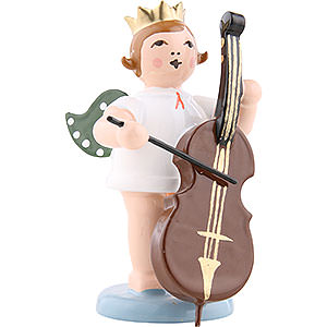 Angels Orchestra w/ crown (Ellmann) Angel with crown and double bass - 6,5cm / 2.5inch