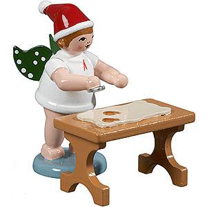 Weihnachtsengel Bäckerengel (Ellmann) Bäckerengel mit Mütze und Ausstechform am Tisch - 6,5 cm