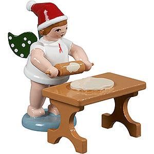 Weihnachtsengel Bäckerengel (Ellmann) Bäckerengel mit Mütze und Teigrolle am Tisch - 6,5 cm