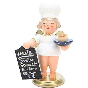 Weihnachtsengel Bäckerengel (Ulbricht) Bäckerengel mit Streuselkuchen - 7,5 cm
