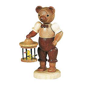 Kleine Figuren & Miniaturen Tiere Bären Bär mit Vogelkäfig - 10 cm
