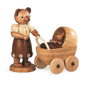 Kleine Figuren & Miniaturen Tiere Bären Bärenmutter mit Kinderwagen - 10 cm