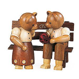 Kleine Figuren & Miniaturen Tiere Bären Bärenpaar auf Bank - 10cm