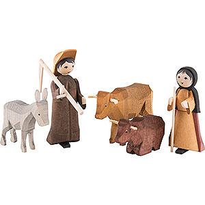 Kleine Figuren & Miniaturen ULMIK Krippe Bauerngruppe 5-teilig gebeizt - 7 cm