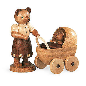 Small Figures & Ornaments Animals Bears Bear mother with buggy - 10 cm / 4 inch