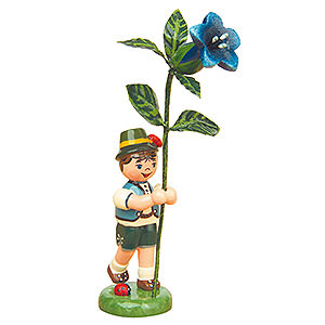 Kleine Figuren & Miniaturen Hubrig Blumenkinder Blumenkind Junge mit Enzian - 11cm