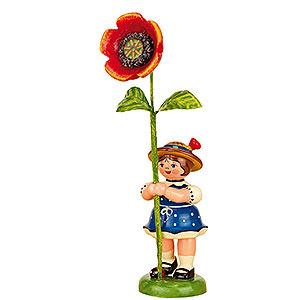Kleine Figuren & Miniaturen Hubrig Blumenkinder Blumenkind Mädchen mit Mohnblume - 11cm