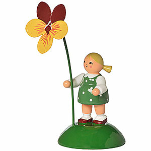 Kleine Figuren & Miniaturen Blumenkinder Blumenmädchen mit Stiefmütterchen - 6cm