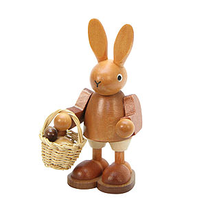 Small Figures & Ornaments Animals Rabbits Bunny with Eggs in Basket  natural colors - 9,0 cm / 4 inch