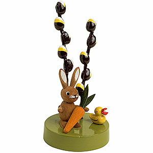 Small Figures & Ornaments Animals Rabbits Bunny with Pussy Willow - 7 cm / 3 inch