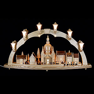 Candle Arches Illuminated inside Candle Arch Frauenkirche with Christmas fair - 41 x 17 inch - 80 x 43 cm