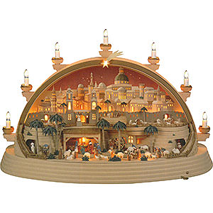Candle Arches Illuminated inside Candle Arch - Nativity Scene in Bethlehem (limited Edition) - 74x28x58 cm / 29x11x23 inch