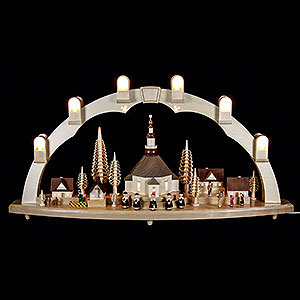 Candle Arches Illuminated inside Candle Arch Seiffen church with Village - 31 x 16 inch - 80 x 41 cm
