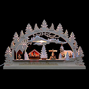 Candle Arches Fret Saw Work Candle Arch - Village Christmas -  62x37x5,5cm / 24x14x2 inch