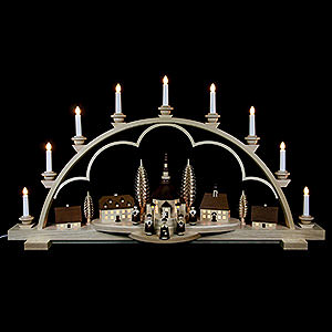 Candle Arches Illuminated inside Candle Arch - Village Seiffen - 102 cm / 40 inch - 120 V electr. (US-standard)
