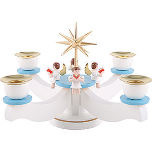 World of Light Candle Holder Angels Candle Holder - Advent Blue/White with Sitting Angels - 22x 22x 19 cm / 9x9x7 inch