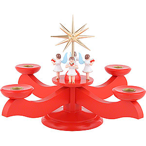 World of Light Candle Holder Angels Candle Holder - Advent Red - 29x29x26 cm / 11.4x11.4x10.2 inch
