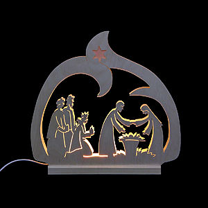 Candle Arches Fret Saw Work Candle arch - LED - Nativity  - 30x28,5x4,5cm / 12x11x2 inch